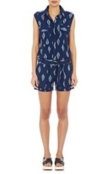 Fabric Hunted And Collected Ikat Print Romper Blue