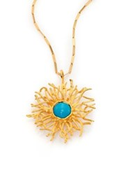 Stephanie Kantis Turquoise Howlite Coral Burst Pendant Necklace Gold Turquoise