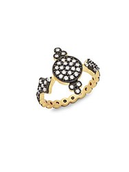 Freida Rothman Crystal And Sterling Silver Ring Black