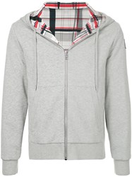 Moncler Gamme Bleu Checked Lining Hoodie Grey