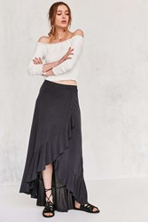 Ecote Aranza Ruffle Wrap Maxi Skirt Washed Black