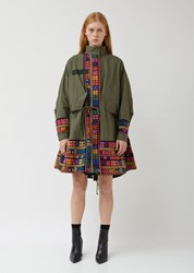 Sacai Oxford X Floral Stripe Embroidery Coat Khaki