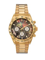 Saks Fifth Avenue Black Mother Of Pearl Gold Ip And Stainless Steel Watch
