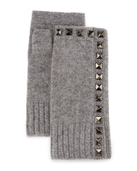 Neiman Marcus Cashmere Studded Fingerless Gloves Smoke Grey
