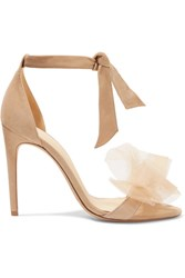 Alexandre Birman Clarita Bow Embellished Suede And Tulle Sandals Beige