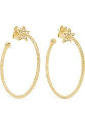 Carolina Bucci Shooting Star 18 Karat Gold Diamond Hoop Earrings One Size