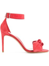Alexander Mcqueen Bow Detail Stiletto Sandals Calf Leather Red
