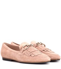 Tod's Embellished Suede Loafers Pink