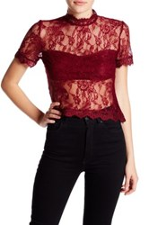 Romeo And Juliet Couture Short Sleeve Sheer Lace Shirt Red