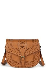 Sole Society 'Kianna' Perforated Faux Leather Crossbody Bag Brown Cognac