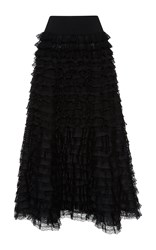 Giambattista Valli High Waist Tiered Flounced Maxi Skirt Black