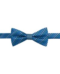 Countess Mara Reversible Textured Stripe To Tie Bow Tie Blue