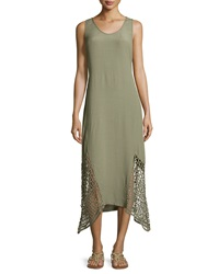 Xcvi Sleeveless Round Neck Dress W Lace Hem Oregano Pigment
