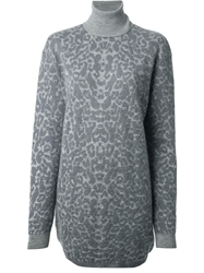 Mcq By Alexander Mcqueen Leopard Pattern Sweater Dress Grey