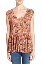 Women's Hinge Flutter Hem Cap Sleeve Top Red Sauce Woodland Ditsy