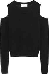 Allude Cold Shoulder Cashmere Sweater Black
