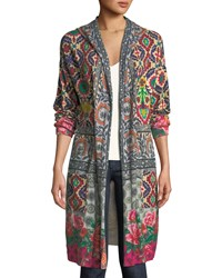 Johnny Was Schell Printed Duster Jacket W Hood Plus Size Multi Print B