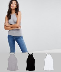 Asos Cami With Square Neck In Fitted Rib 3 Pack Black White Grey Multi