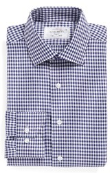 Lorenzo Uomo Men's Big And Tall Trim Fit Check Dress Shirt Navy