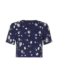 Yumi Floral Shell Top Navy