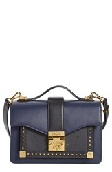 Mcm 'Small Marien' Studded Leather And Canvas Satchel