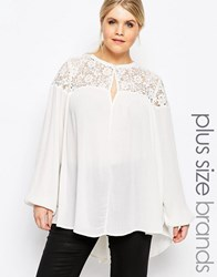 Carmakoma Lace Insert Folk Blouse Cream