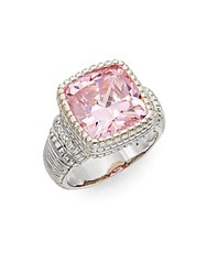Judith Ripka Classic Pink Crystal White Sapphire And Sterling Silver Ring