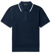 Rag And Bone Edmond Contrast Tipped Cotton Blend Polo Shirt Blue