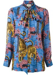Gucci Bengal Print Blouse Forest