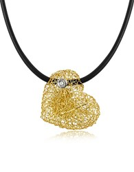 Orlando Orlandini Arianna Small Diamond Heart Pendant W Rubber Lace