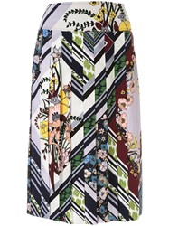 Tory Burch Floral Print Pleated Skirt Multicolour