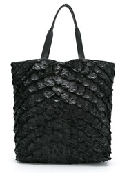 Osklen Leather Tote Bag Pirarucu Skin Black