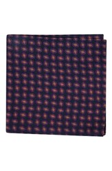 Ted Baker Men's London Neat Plaid Double Sided Silk Pocket Square Off Black