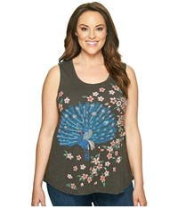 Lucky Brand Plus Size Embroidered Peacock Tank Top Black Mountain Women's Sleeveless