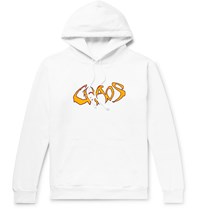 Noon Goons Fleece Back Printed Cotton Jersey Hoodie White