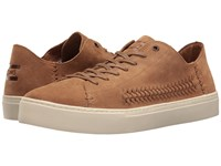 Toms Lenox Sneaker Toffee Suede Woven Panel Men's Lace Up Casual Shoes Brown
