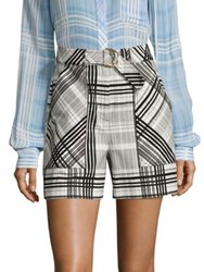 Diane Von Furstenberg Plaid High Waist Shorts Darnley Black