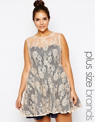Ax Paris Plus Size Lace Skater Dress With Sweetheart Neckline Navynude