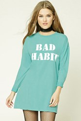 Forever 21 Bad Habit Longline Graphic Tee Mint White