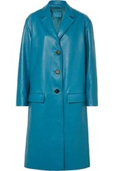 Prada Oversized Textured Leather Coat Blue