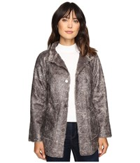 Dylan By True Grit Easy Rider Vintage Faux Leather Reversible Coat W Snap Closure And Pockets Grey Women's Coat Gray