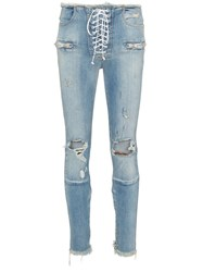 Unravel Project Skinny Stonewash Ripped Skinny Jeans Blue