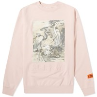 Heron Preston Birds Print And Debossed Crew Sweat Pink