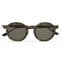 Thierry Lasry Sobriety Round Frame Striped Acetate Sunglasses Green