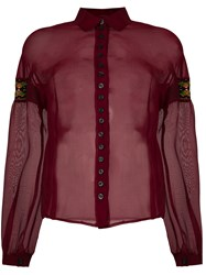 Romeo Gigli Vintage Embroidered Patches Sheer Shirt