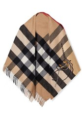 Burberry Fringed Embroidered Checked Cashmere Wrap Beige