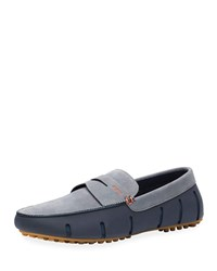 Swims Mesh And Rubber Lux Penny Loafers Navy