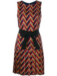 Gucci Chevron Pleated Sleeveless Dress Multi Coloured White Blue Black