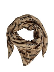 Vetements Monogram Fleece Scarf Beige Black