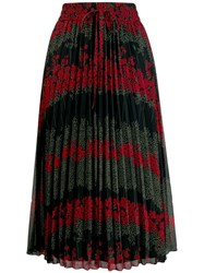 Red Valentino Floral Pleated Skirt Black